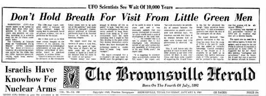 No UFOs Study Reveals - Br Her Jan 9 1969 -