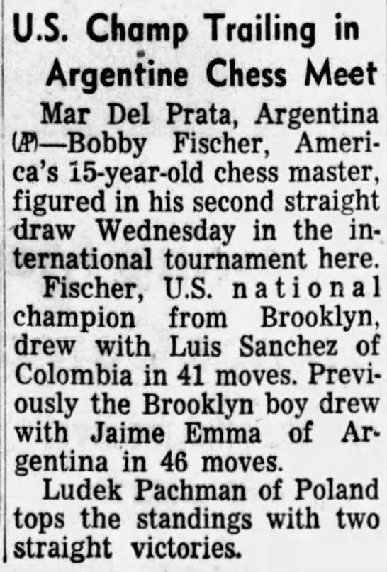 U.S. Champ Trailing in Argentine Chess Meet -