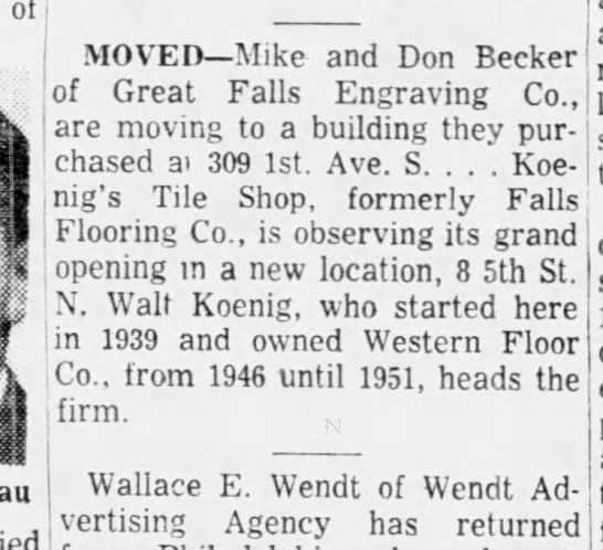 Walt Koenig Tile Shop formerly Falls Flooring. 1955 -