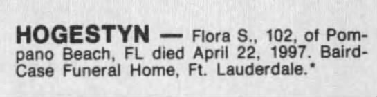 Obituary- Flora S. Hogestyn (South Florida Sun Sentinal, page 12) -