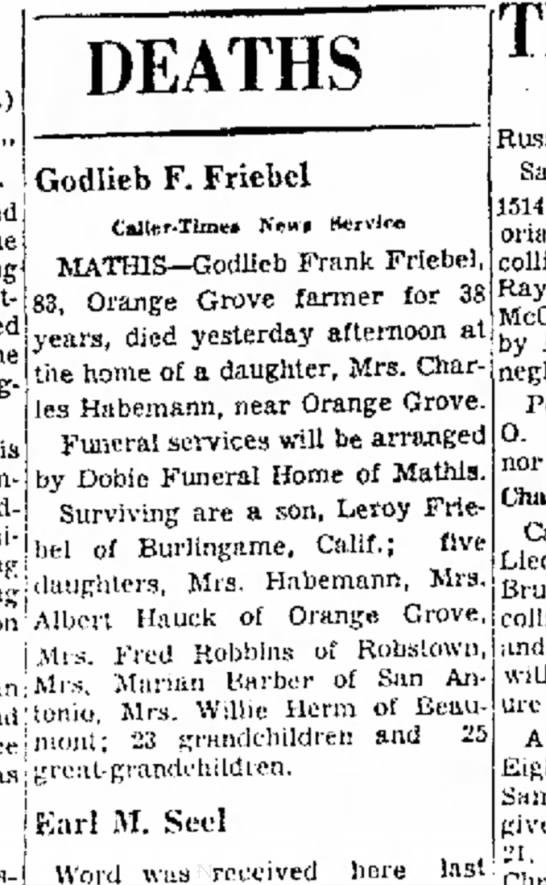 Frank Friebel's Death Notice -