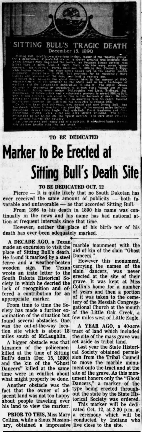 Marker to be erected at Sitting Bull's death site in 1958 -
