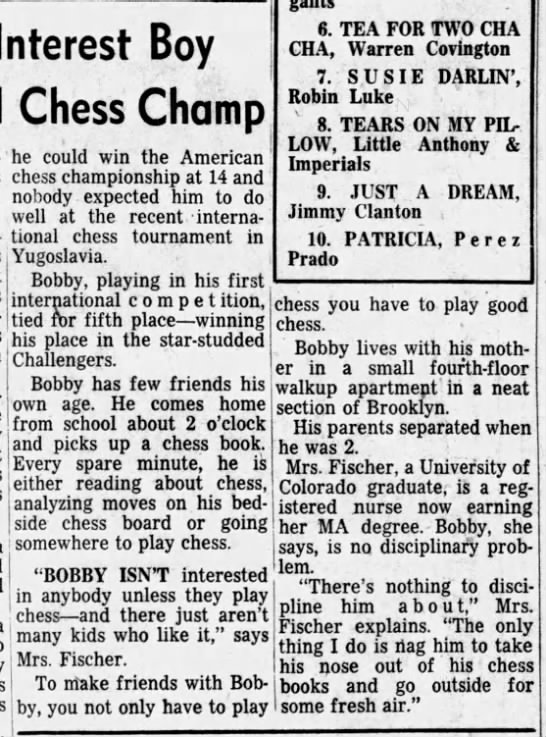 Baseball, Football Don't Interest Boy Who May Become World Chess Champion Column 2 -