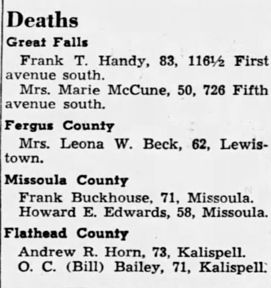 FRANK BUCKHOUSE GREAT FALLS TRIBUNE GREAT FALLS MONTANA 2 SEP 1946 FRI PAGE 4 -