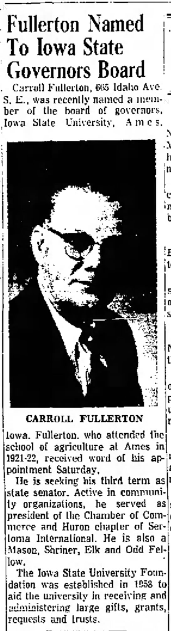 Carroll Fullerton Named to Iowa State Governors Board - 30 June 1960 -