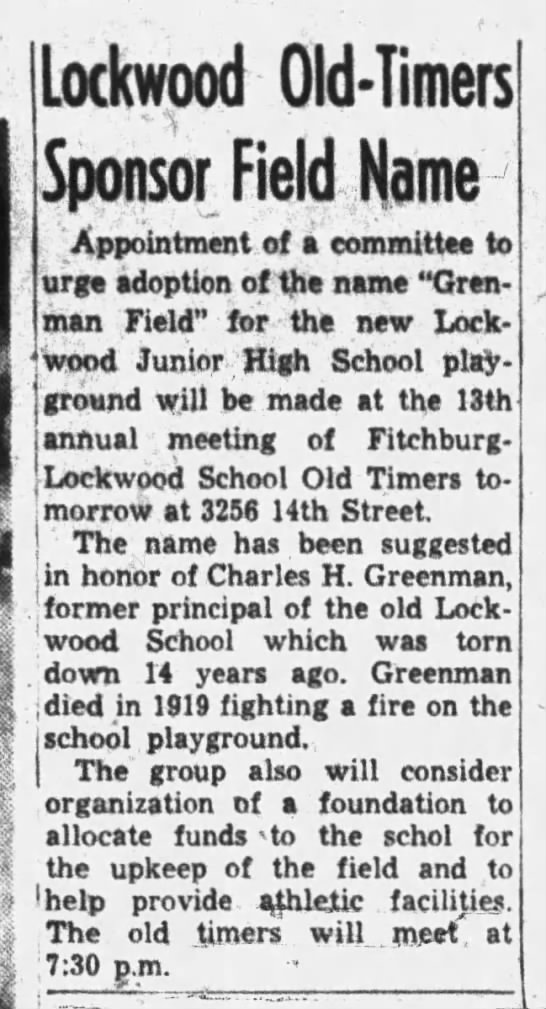 Lockwood Old-Timers Sponsor Field Name - Greenman Field Feb 16, 1960 -