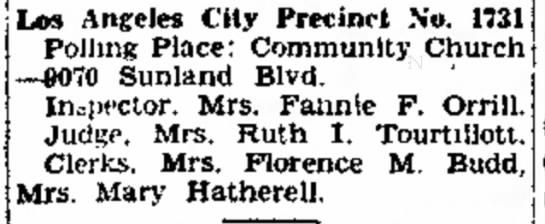 Fannie Florine Fry- Los Angeles City Pricinct # 1731 -