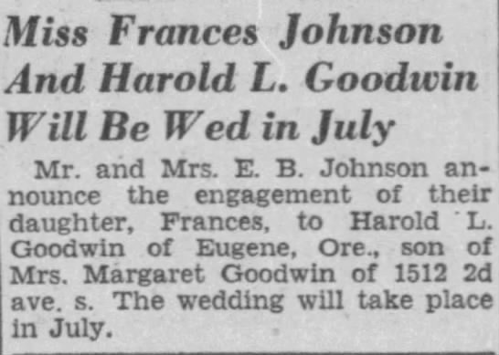- Miss Frances Johnson ind Harold L. Goodwin Will...