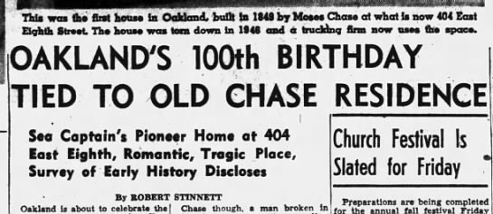 Oakland's 100th Birthday Tied to Old Chase Residence - Nov 13, 1949 -