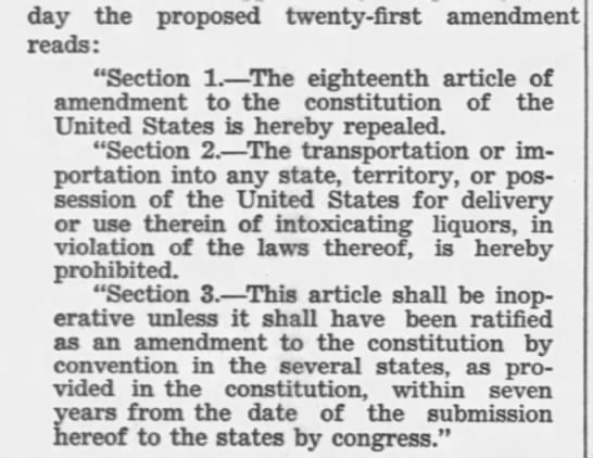 21st amendment - day the proposed twenty-first amendment reads:...