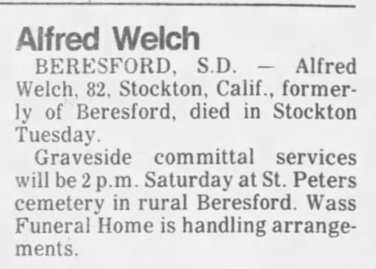 Alfred Welch Deaths Newspapers Com