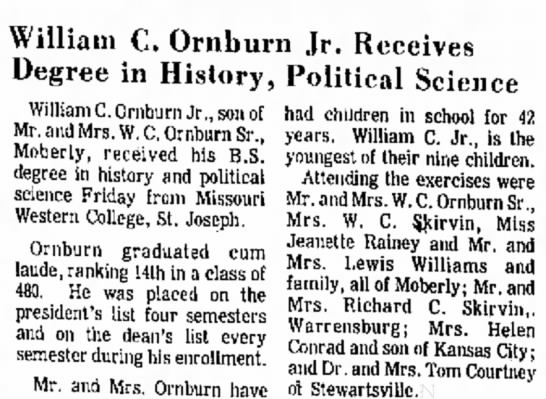 Bill rnburn graduates with degree in History and political science -