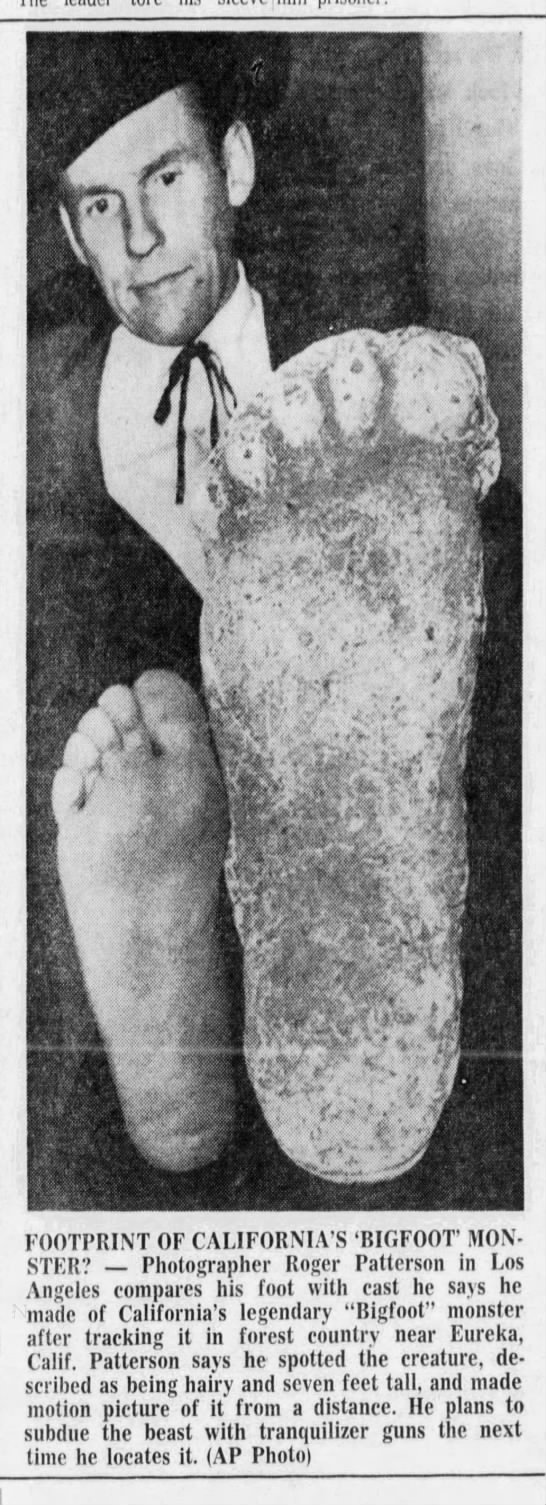 Bigfoot footprint, 1967 -