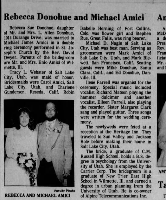 Becky Lamping and Michael Amici Wedding announcement. Great Falls Newspaper 10.10.1982 -