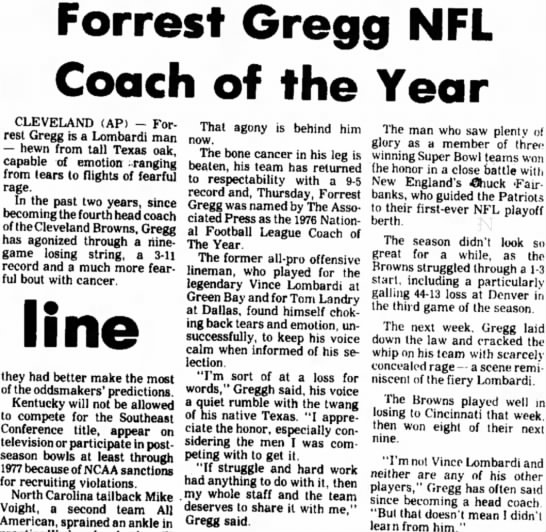 Forrest Gregg NFL Coach of the Year -