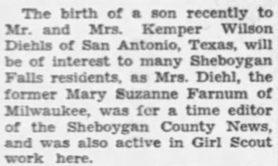Birth of a son [Andrew Kemper] to Mr  & Mrs  Kemper Wilson