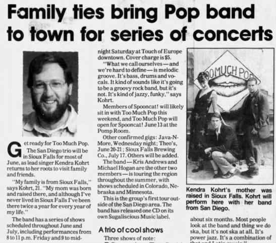 article - Family ties bring Pop band to town for series...