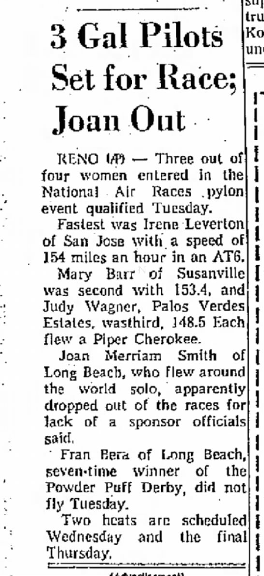 1964-Independent - 3 Gal Pilots Set for Race; Joan Out RENO UB --...