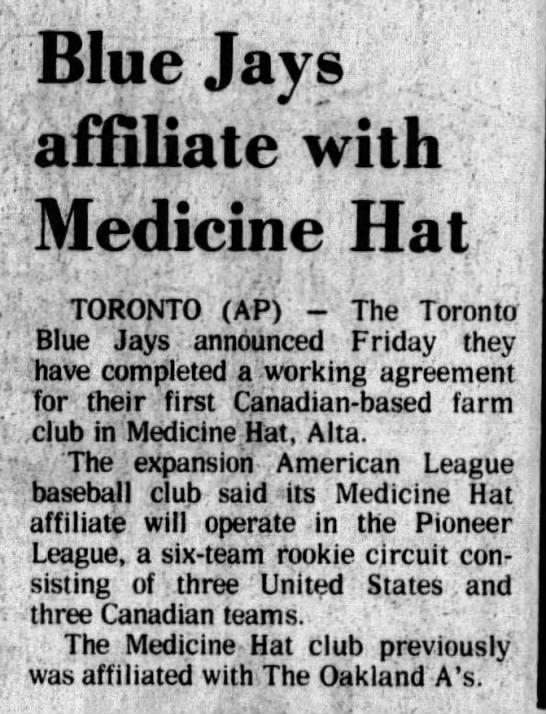 Blue Jays affiliate with Medicine Hat -
