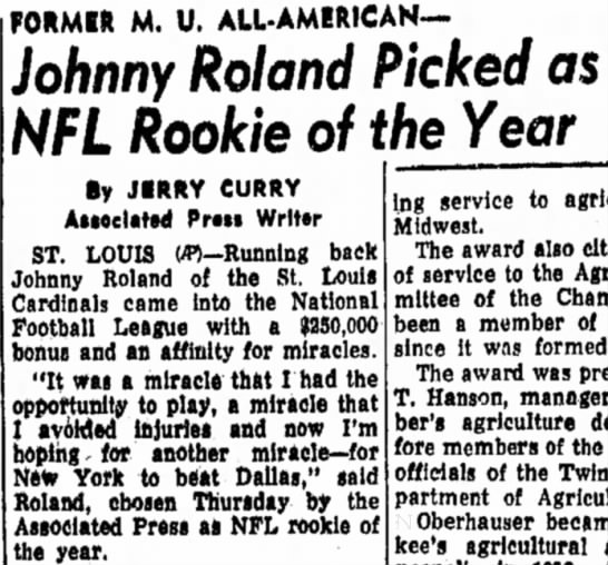 Johnny Roland Picked as NFL Rookie of the Year -