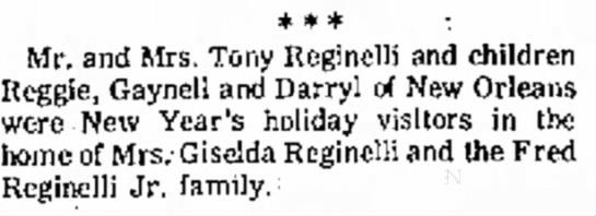 Tony Reginelli New Orleans 1970 -