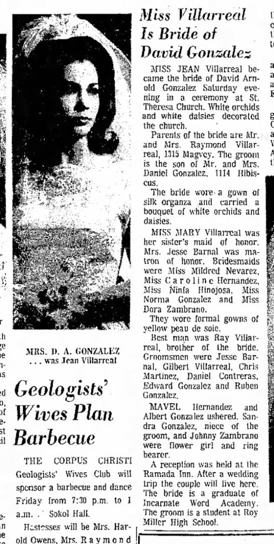 Genoveva VILLARREAL marriage anncmt 09 May 1965 -