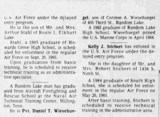 wiesehuegel dan enlistment 1984 -