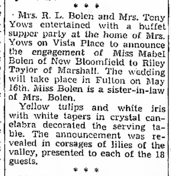 Mabel Bolen & Riley Taylor marriage announcement -