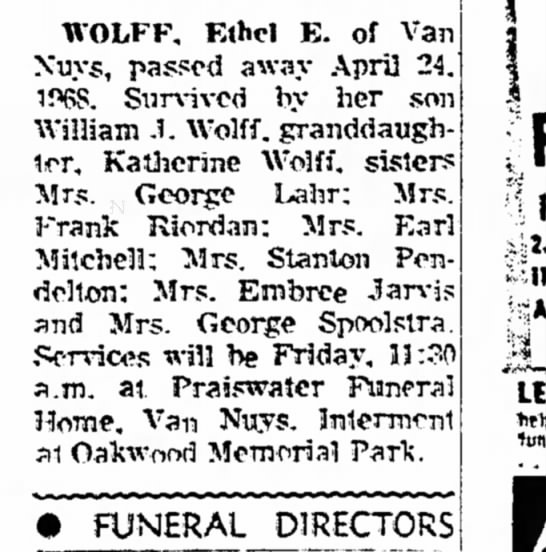 Spoolstra, George Mrs 19680426 Article California, Van Nuys; Mentioned in obit -