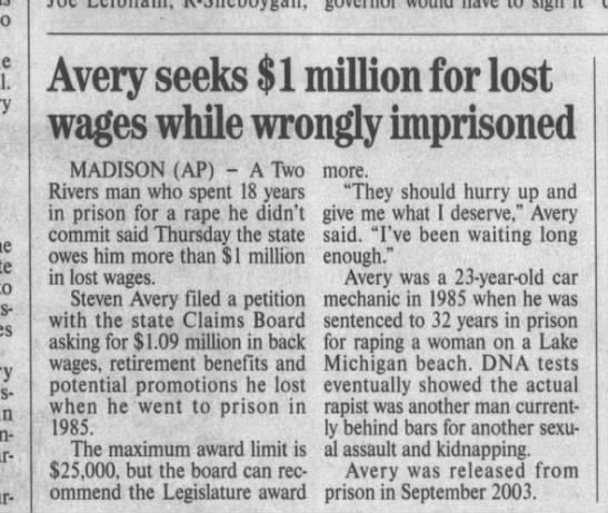 Avery OCt 22 2004 TSP - Avery seeks $1 million for lost wages while...