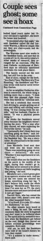 Snedeker Haunt in Hartford Courant -