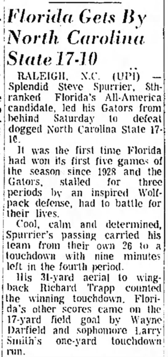 Florida Gets By North Carolina State 17 10 -