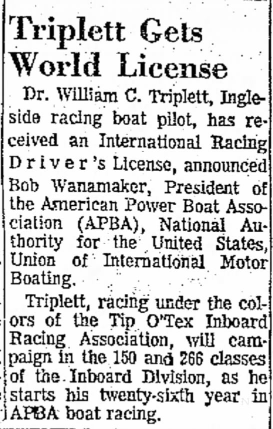 1967 Dr Wm C Triplett, Ingleside racing boat pilot Intl Racing