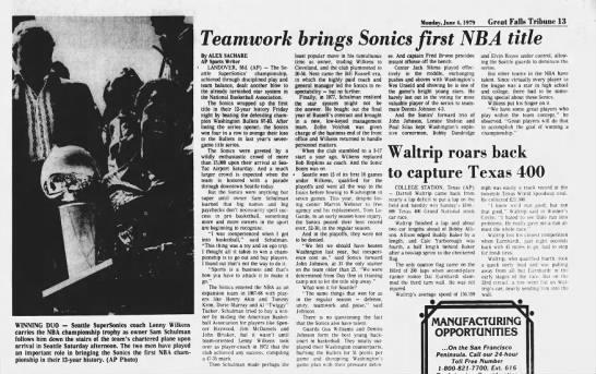 Seattle Supersonics win NBA title June 1979 - Newspapers com