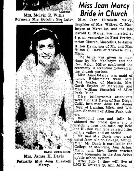 Jean Davis' wedding in 1954 -