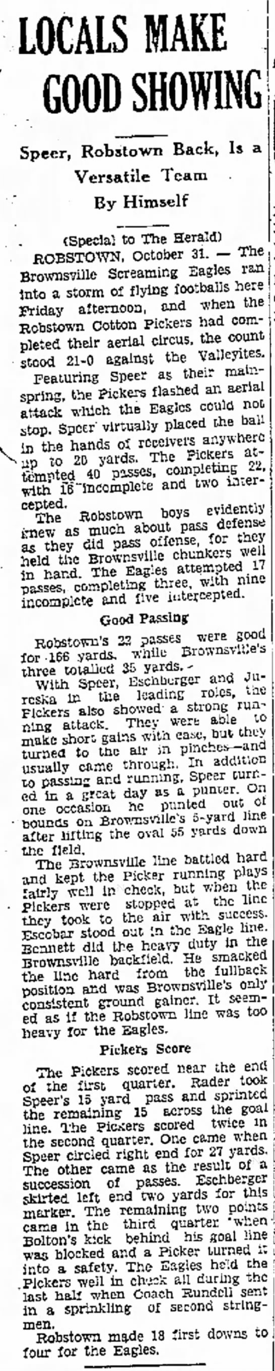 Bennett on Brownsville Football team. 11-1-1930 -