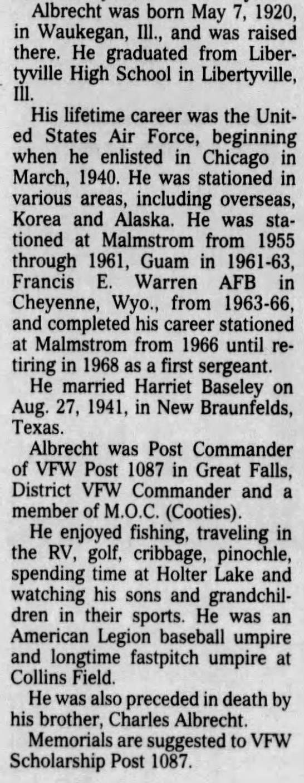 - Albrecht was born May 7, 1920, in Waukegan,...