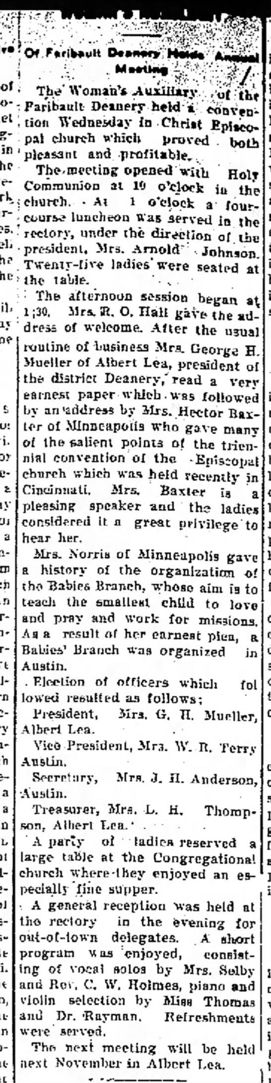Austin Daily Herald 10 Nov 1910 p. 2 -