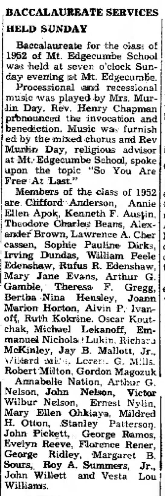 Baccalaureate Service Held Sunday. The Daily Sitka Sentinel (Sitka, Alaska) May 12, 1952, p 3 -