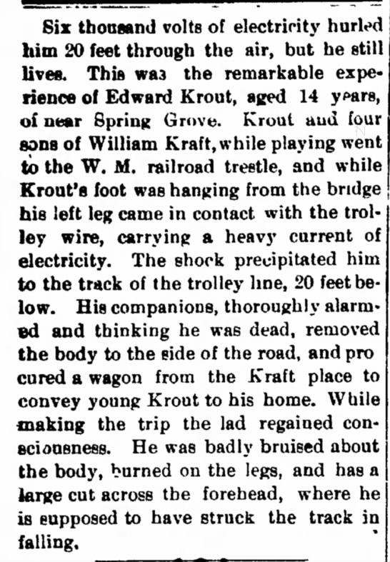 Edward Krout electrical shock -