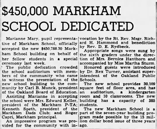 $450,000 Markham School Dedicated - Oct 23, 1949 -