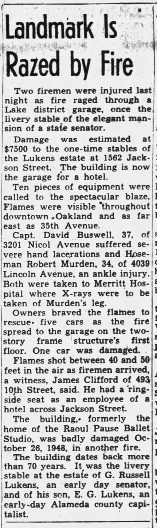 Landmark Is Razed By Fire - Mar 23, 1952 -