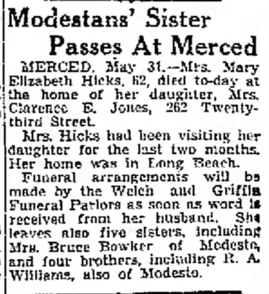 Mary Elizabeth (Williams) Hicks death -