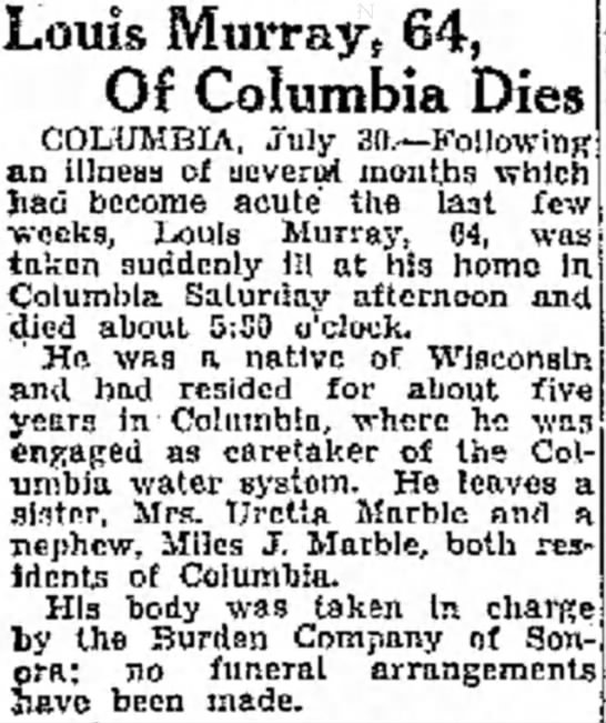 Louis Murray obituary 31 July 1932 Modest Bee and News-Herald -