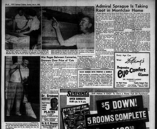 Admiral Sprague Is Taking Root in Montclair Home - June 06 1952 -