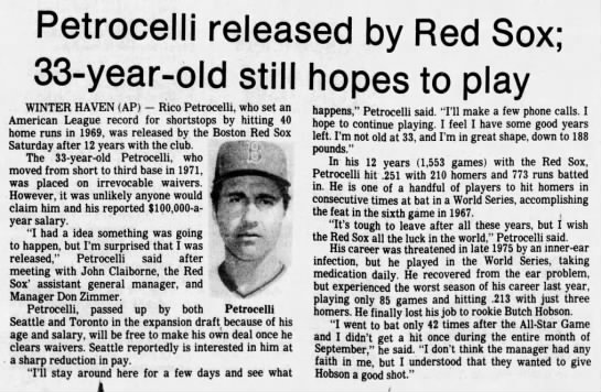 Petrocelli released by Red Sox; 33-year-old still hopes to play -