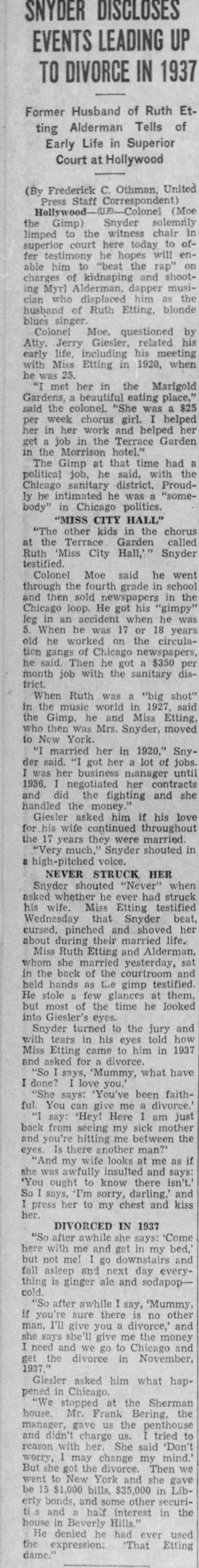 Moe Snyder tells of Etting divorce -