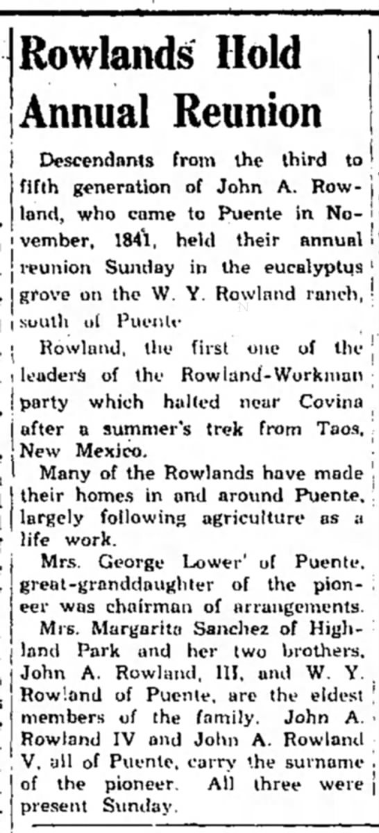 Rowlands Hold Annual Reunion 1950 -