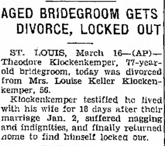 Theodore Klockenkemper divorce -