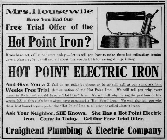 1910 Hot Point Electric Iron -